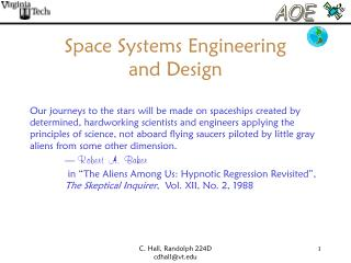 Space Systems Engineering  and Design