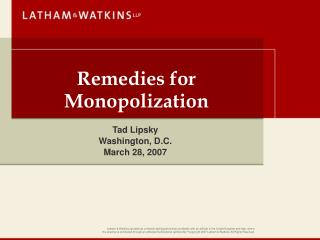 Remedies for Monopolization
