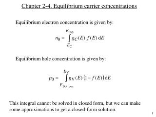 Chapter 2-4. Equilibrium carrier concentrations