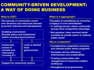 COMMUNITY-DRIVEN DEVELOPMENT:  A WAY OF DOING BUSINESS