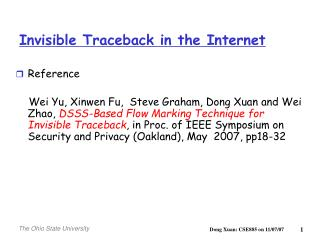 Invisible Traceback in the Internet