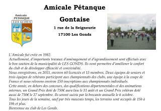 Amicale Pétanque Gontaise 1 rue de la Seigneurie 17100 Les Gonds