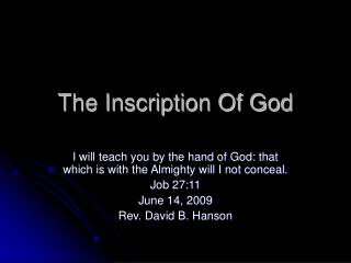 The Inscription Of God