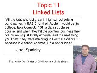 Topic 11 Linked Lists