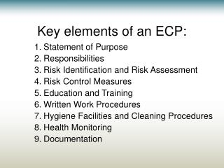 Key elements of an ECP: