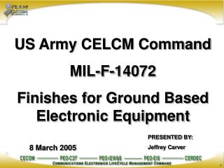 US Army CELCM Command MIL-F-14072 Finishes for Ground Based Electronic Equipment