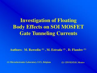 Investigation of Floating Body Effects on SOI MOSFET Gate Tunneling Currents