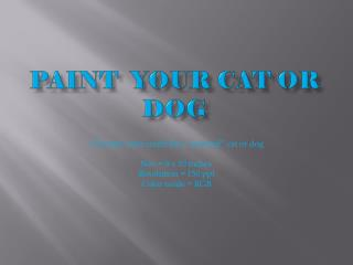 Paint  Your Cat or Dog