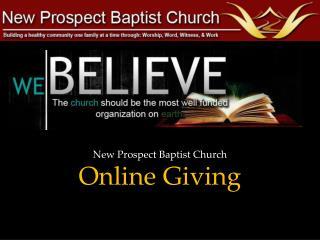 New Prospect Baptist  Church Online Giving
