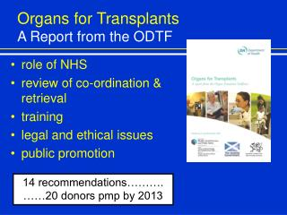 Organs for Transplants A Report from the ODTF