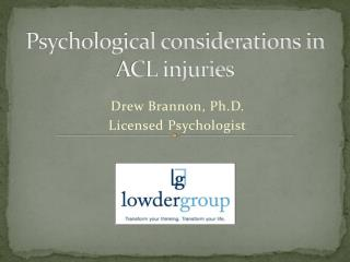 Psychological considerations in ACL injuries