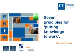 Seven principles for 'putting knowledge to work'. Karen Evans