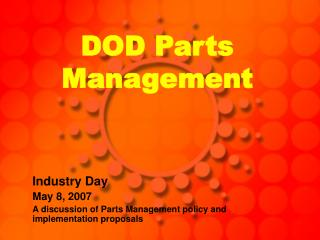 DOD Parts Management