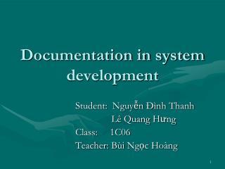 Documentation in system development