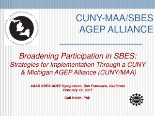CUNY-MAA/SBES AGEP ALLIANCE