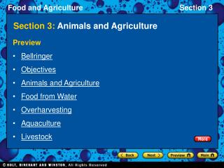 Section 3:  Animals and Agriculture