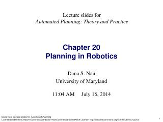 Chapter 20 Planning in Robotics