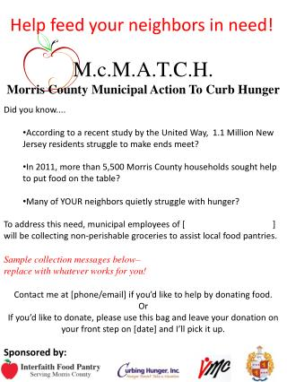 M.c.M.A.T.C.H. Morris County Municipal Action To Curb Hunger