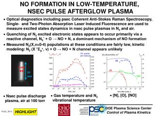 NO FORMATION IN LOW-TEMPERATURE,  NSEC PULSE AFTERGLOW PLASMA