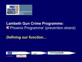 Lambeth Gun Crime Programme: 'Phoenix Programme' (prevention strand) Defining our function…