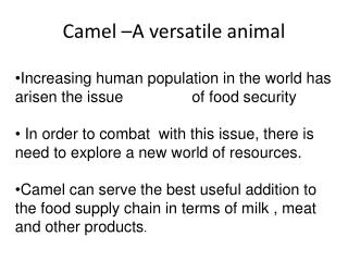 Camel –A versatile animal