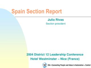 Spain Section Report