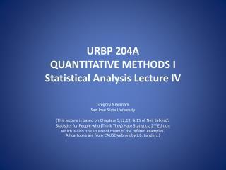 URBP 204A  QUANTITATIVE METHODS I Statistical Analysis Lecture IV