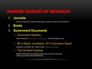Ranked Sources of Research