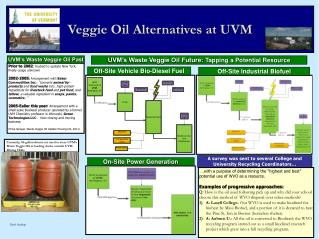 Veggie Oil Alternatives at UVM