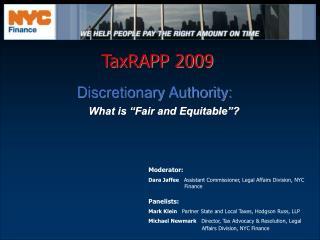 TaxRAPP 2009 TaxRAPP 2009 Discretionary Authority:
