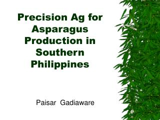 Precision Ag for Asparagus Production in Southern Philippines