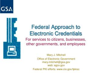 Federal Approach to Electronic Credentials