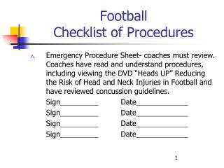 Football Checklist of Procedures