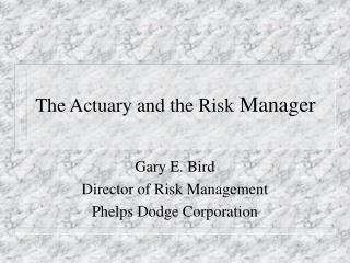 The Actuary and the Risk  Manager