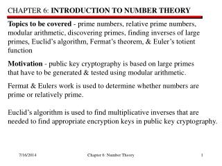 CHAPTER 6:  INTRODUCTION TO NUMBER THEORY