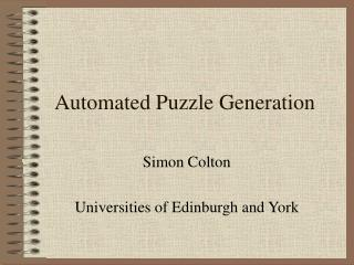 Automated Puzzle Generation
