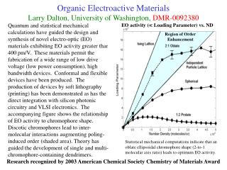 Organic Electroactive Materials Larry Dalton, University of Washington,  DMR-0092380