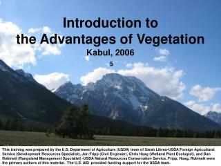 Introduction to  the Advantages of Vegetation