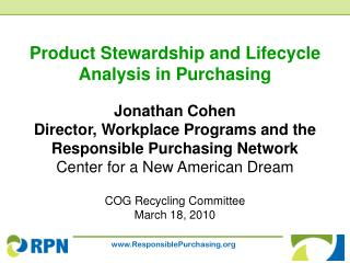 Product Stewardship and Lifecycle Analysis in Purchasing