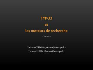 TYPO3  et  les  moteurs de  recherche
