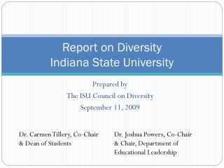 Report on Diversity Indiana State University