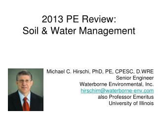 2013 PE Review: Soil & Water Management