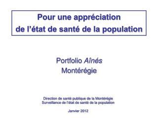 Direction de santé publique de la Montérégie Surveillance de l'état de santé de la population