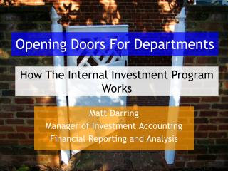 Opening Doors For Departments