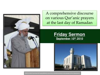Friday Sermon  September 10th 2010
