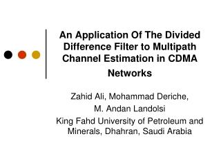 An Application Of The Divided Difference Filter to Multipath Channel Estimation in CDMA Networks