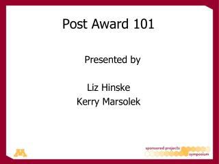 Post Award 101