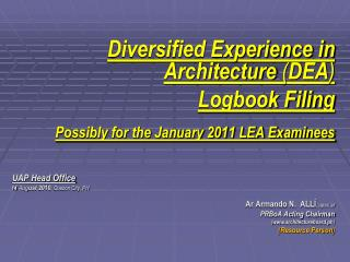 Diversified Experience in Architecture  ( DEA ) Logbook Filing