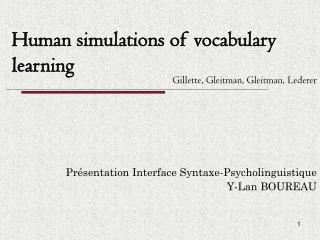 Human simulations of vocabulary learning