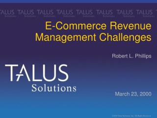 E-Commerce Revenue  Management Challenges